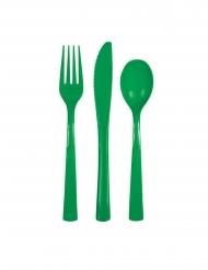 18 posate in plastica color verde smeraldo