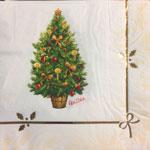 16 tovaglioli di carta albero di Natale bianco e oro