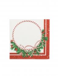 16 Tovaglioli di carta Happy Christmas bianchi e rossi 33x33cm