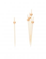 25 stecchini decorativi con perle oro
