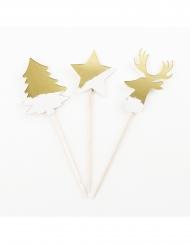 8 stecchini decorativi in legno Natale bianco e oro