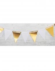 Ghirlanda in cartone bandierine bianche e oro