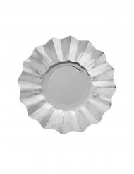 8 piattini in cartone argento metallizzato 21 cm