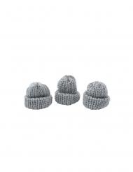 3 Cappellini maglia grigi 3,4 x 1,5 x 3 cm