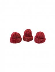 3 Cappellini maglia rossi 3,4 x 1,5 x 3 cm
