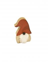 Babbo Natale in legno barba bianca 10cm