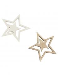 10 Coriandoli da tavola in legno stelle dorate