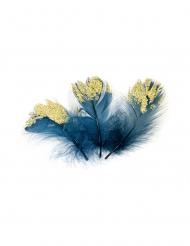 20 piume blu con brillantini oro