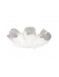 25 piume bianche e brillantini argento