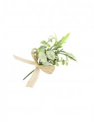 Mini bouquet foglie e nastro di tela