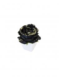 Rosa artificiale nera paiettata vaso bianco