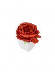 Rosa artificiale rossa paiettata vaso bianco