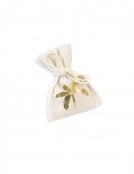 4 Sacchetti in tela con palma metallico 10 x 8 cm