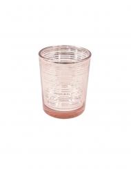 Portacandele in vetro a righe oro rosa