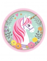8 piattini in cartone unicorno magico 18 cm
