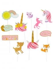 Kit photobooth 12 accessori unicorno magico