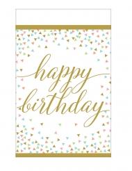 Tovaglia Happy Birthday oro e pastello