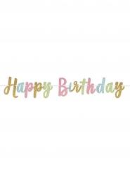 Ghirlanda di brillantini Happy Birthday pastello