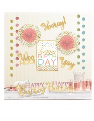 Kit 12 decorazioni Happy Birthday oro e pastello