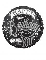 Palloncino alluminio Happy Birthday bianco e nero