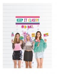 Kit photobooth 14 accessori Birthday colorato