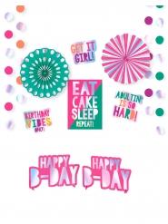 Kit decorazione in cartone metallizzato 12 pezzi Birthday Vibes
