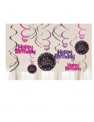 12 Sospensioni a spirale Happy Birthday Frizzante