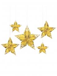 5 decorazioni da appendere stelle dorate