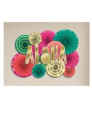Kit decorazioni rosoni di carta e scritta Aloha