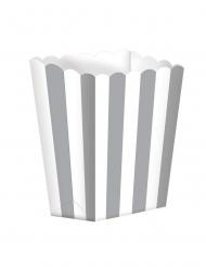 5 scatole da pop corn a righe bianche e argento