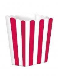 5 scatole da pop corn a righe bianche e rosso