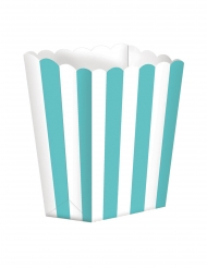 5 scatole da pop corn a righe bianche e menta