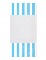 10 Sacchetti di plastica a righe azzurre 25 x 13 cm