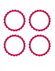 20 etichette adesive rotonde bianche e rosse