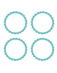 20 etichette adesive rotonde bianche e menta