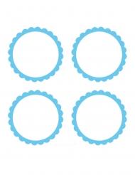 20 etichette adesive rotonde bianche e celesti
