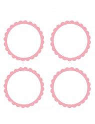 20 etichette adesive rotonde bianche e rosa