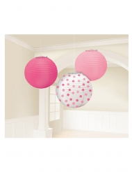 3 lanterne di carta rosa e bianche