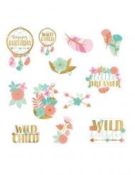 12 decorazioni in cartone boho floreale