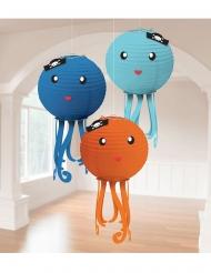 3 lanterne di carta piovre colorate