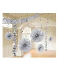 Kit di 18 decorazioni di carta argento
