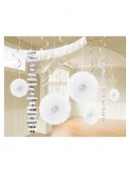 Kit di 18 decorazioni di carta bianche e argento