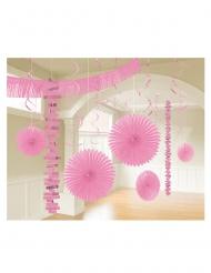 Kit di 18 decorazioni di carta rosa
