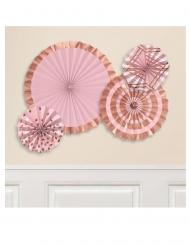 4 rosoni di carta color oro rosa
