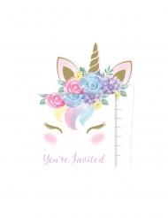 8 Inviti con bustina unicorno fatato