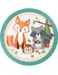 8 Piatti in cartone animali della foresta 23 cm