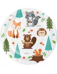 8 piatti piccoli in cartone animali della foresta 18 cm