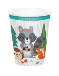 8 bicchieri in cartone animali della foresta 256 ml