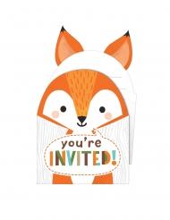 8 inviti di compleanno con busta animali della foresta 10 x 15 cm