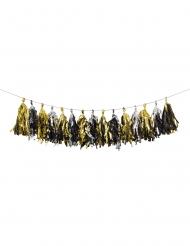 Ghirlanda di nappe in carta nero oro e argento 2.4 m